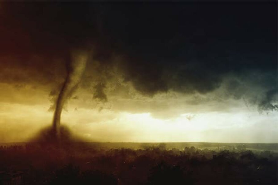 Nope, you can't outrun a tornado. Your best bet is to shelter in place. Ig0rZh/iStock/Thinkstock