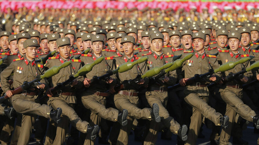 North Korean soldiers march during a mass military parade at Kim Il Sung square to mark the 70th anniversary of its ruling Worker's Party of Korea on Oct. 10, 2015. Liu Xingzhe/VCG via Getty Images