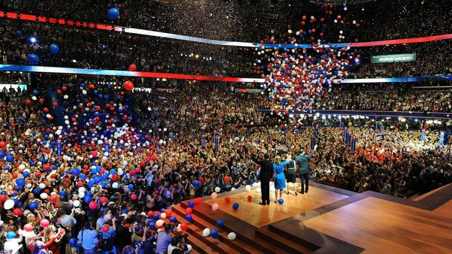 Balloons drop at the end of Republican presidential nominee Mitt Romney's address at the 2012 Republican National Convention. Toni L. Sandys/The Washington Post/Getty Images