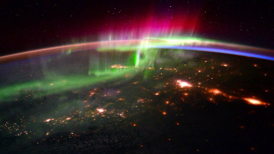 An image of the Northern Lights above Alberta, Canada, taken by astronauts aboard the International Space Station. ESA/NASA