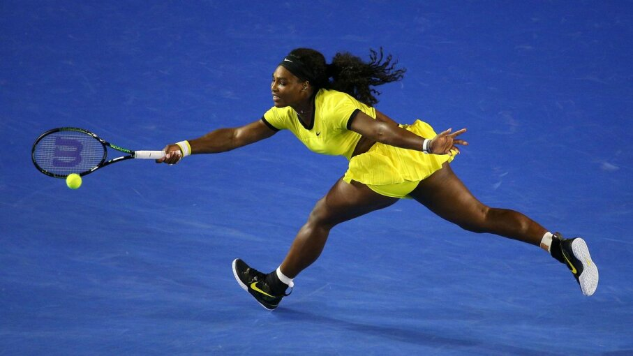 Serena Williams plays a forehand in her Women's Singles Final match against Angelique Kerber of Germany during the 2016 Australian Open. Cameron Spencer/Getty Images