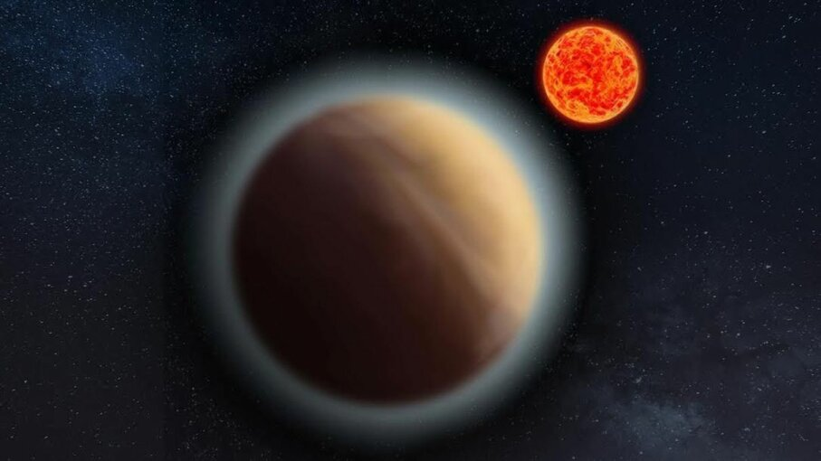 Artist's impression of Gliese 1132b and its red dwarf star. MPIA