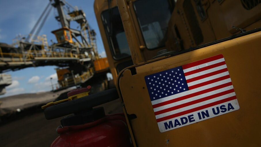 """A mining machine in Germany displays a """"Made in USA"""" sticker. Sean Gallup/Getty Images"""