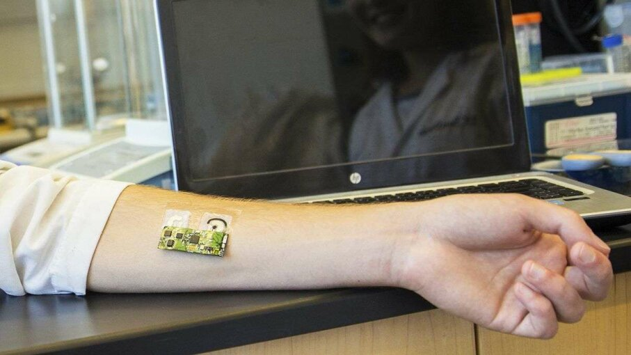 This flexible wearable sensor analyzes sweat and detects alcohol levels. UC San Diego Jacobs School of Engineering