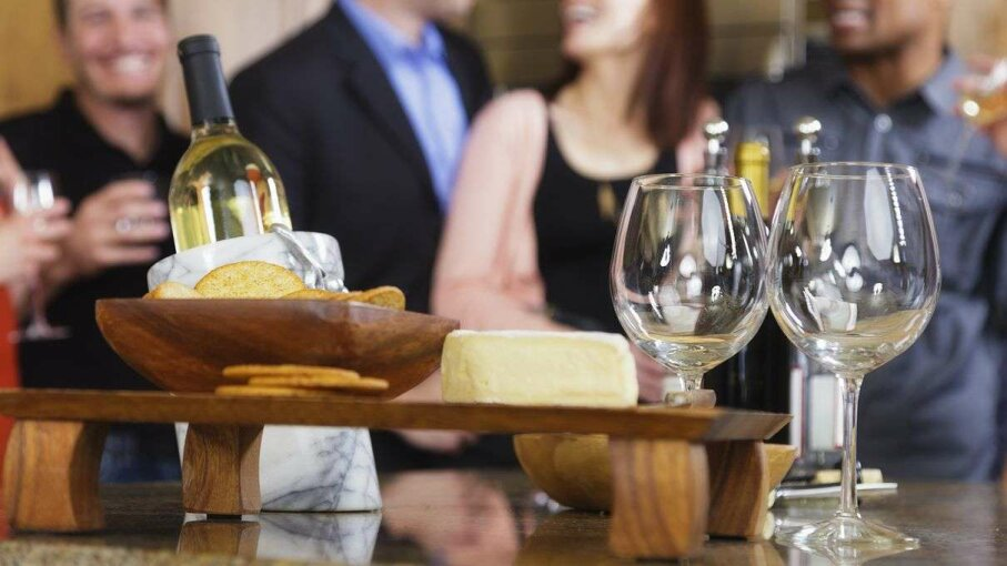 A study showed a glass of wine tasted better between bites of cheese. But you probably knew that already. Rich Legg/Getty Images