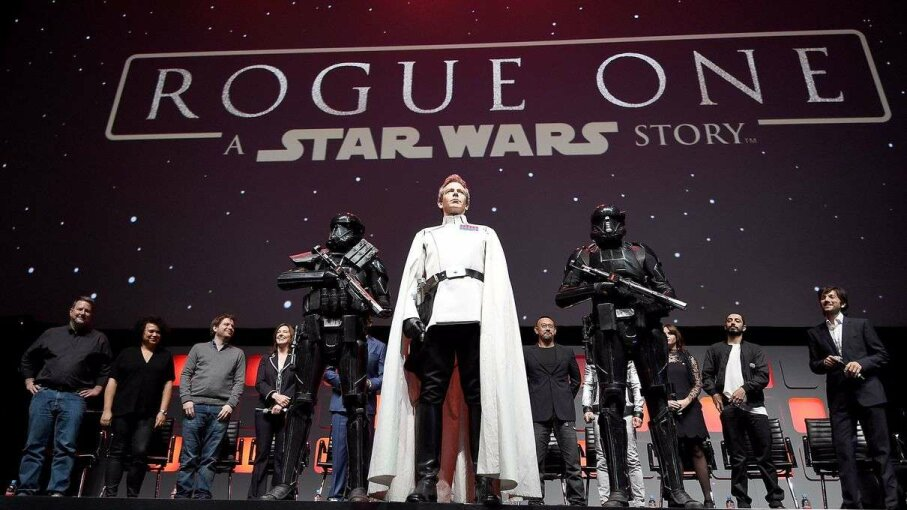 "Ben Mendelsohn takes the stage as Director Orson Krennic during the ""Rogue One"" panel at Star Wars Celebration Europe. Ben A. Pruchnie/Getty Images for Walt Disney Studio"