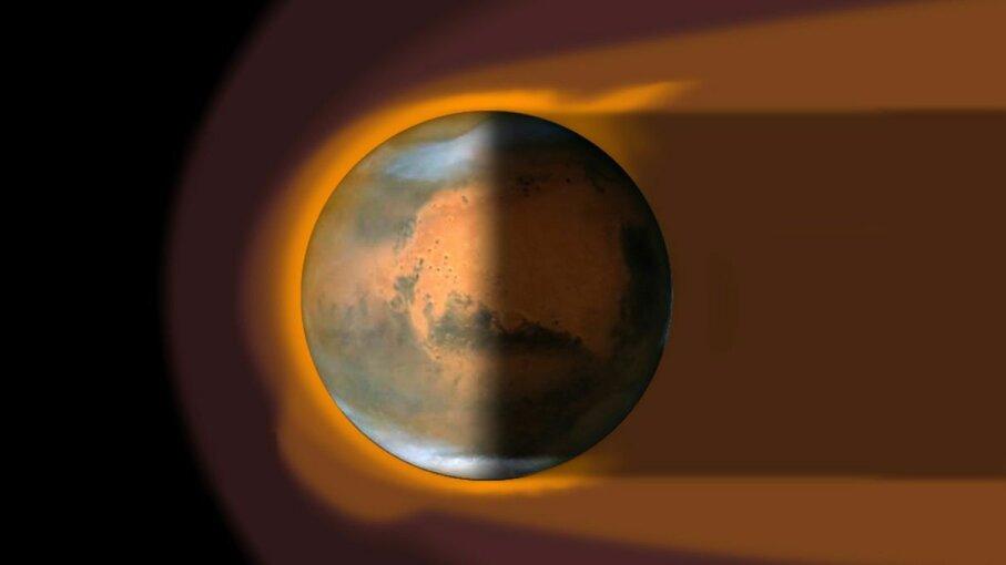 Artist's impression of Martian magnetosphere ESA