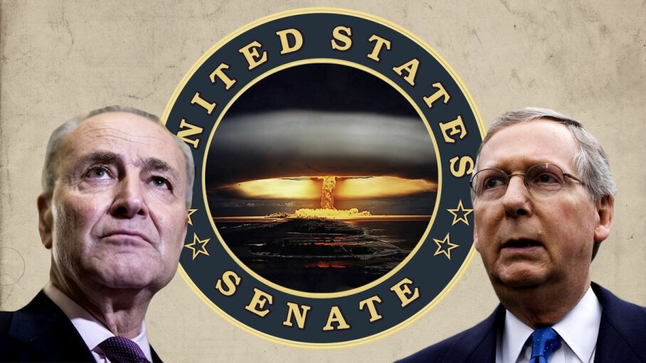 Senate majority leader Mitch McConnell (R) and Senate minority leader Chuck Schumer. Will the nuclear option be a reality? Mandel Ngan/Bill Clark/Getty