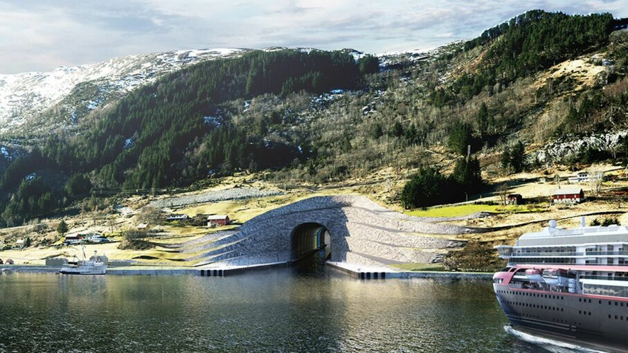 This illustration shows that the proposed Stad Ship Tunnel would need a terraced exterior for structural support. Kystverket/Norwegian Coastal Administration/Snhetta