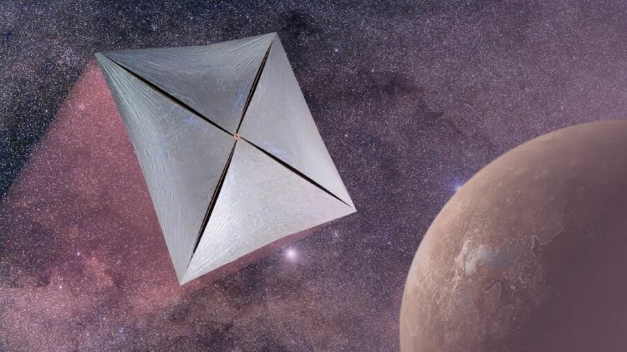 An illustration of the proposed spacecraft that could be bound for Alpha Centauri Stocktrek/Getty/Breakthrough Starshot/Wikimedia Commons