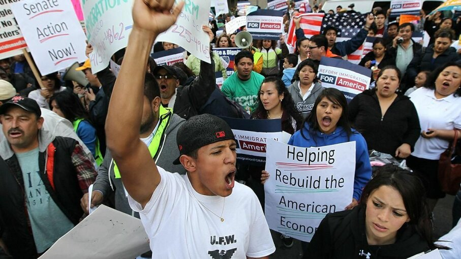Protesters rally for immigration reform in 2010 in San Francisco, the first sanctuary city to file a lawsuit against President Trump for his recent executive order on immigration enforcement. Justin Sullivan/Getty Image