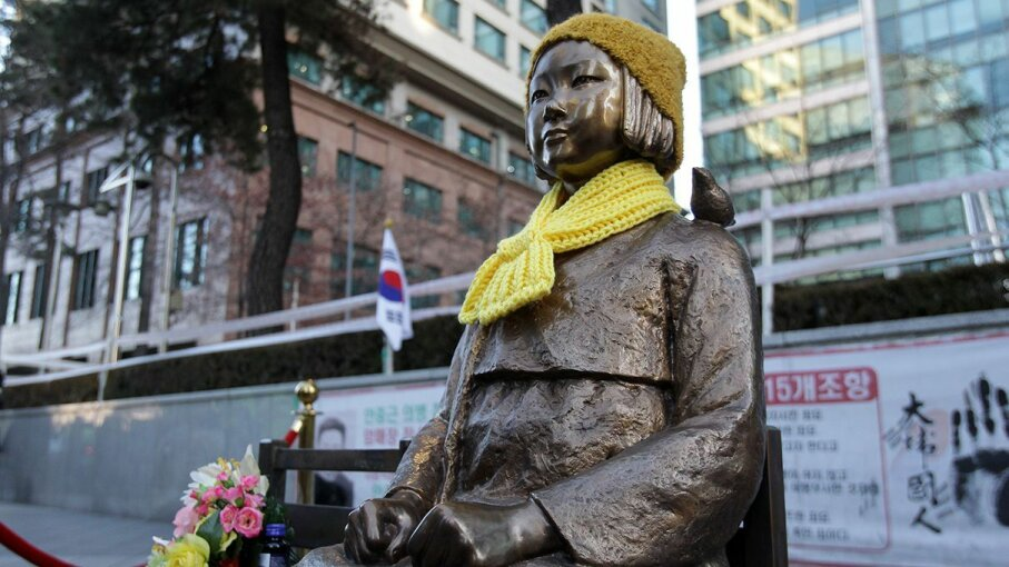 This statue in Seoul represents the challenges of wartime sex slaves for Japanese soldiers. Chung Sung-Jun/Getty Images