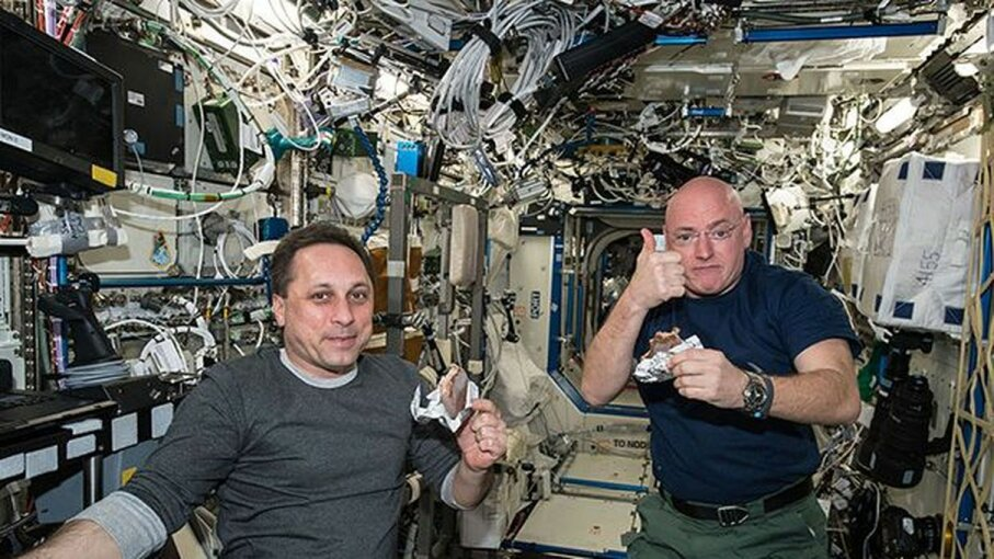 Russian cosmonaut Mikhail Kornienko and NASA astronaut Scott Kelly spent a year working aboard the International Space Station. NASA/Getty Images