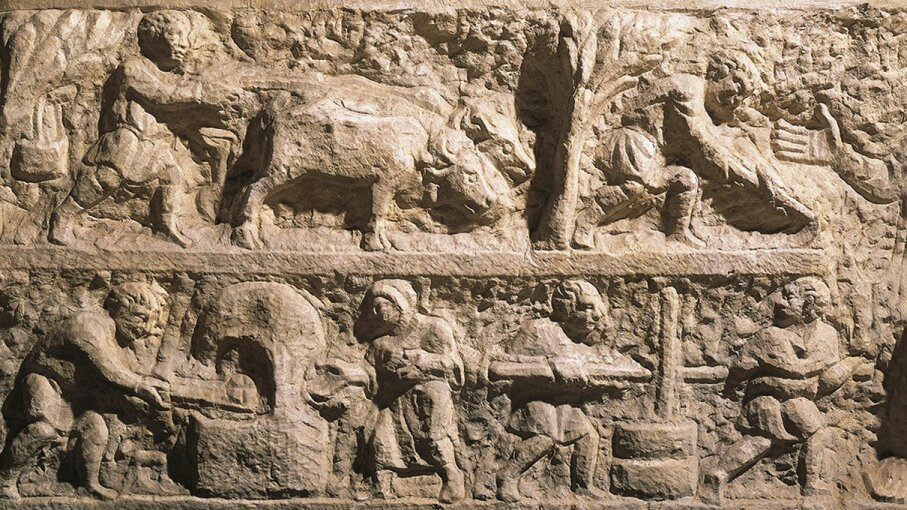 This imagery from an ancient Roman sarcophagus shows the harvest and processing of grain. A new archaeological find predates it by thousands of years. DEA/A. Dagli Orti/DeAgostini/Getty Images