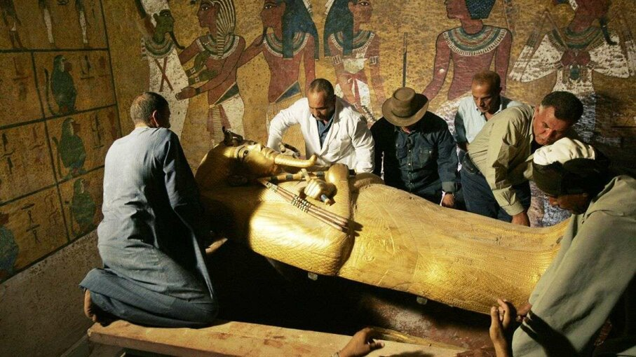 Researchers opening King Tutankhamen's sarcophagus in 2007 to study the Egyptian pharoah's mummy. Ben Curtis/AFP/Getty Images
