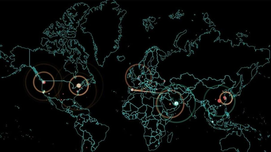The map above is from Norse Corp., a security company that tracks real-time cyberattacks happening in the world at a given moment. On Friday, a lot of those attacks were occurring along the East Coast of the U.S. Screengrab of Norse Corp. Map by HowStuffWorks