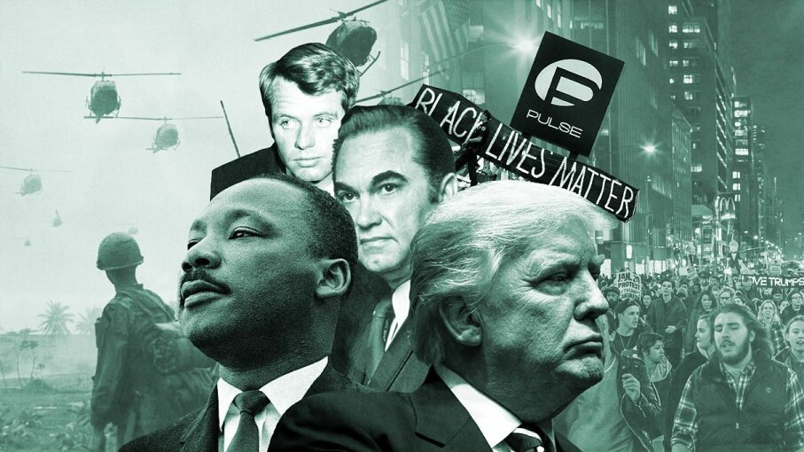 Protests, racial unrest, unconventional presidential candidates dominated both 1968 and 2016 in the U.S. Stringer/Pacific Press/Drew Angerer/Bettmann/Getty