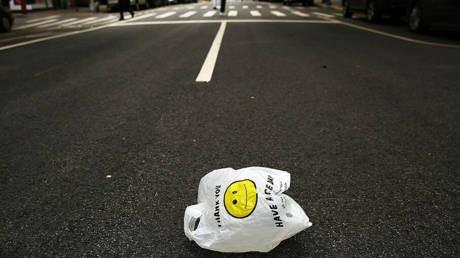 About 500 billion plastic bags are used worldwide every year, and it takes between 500 and 1,000 years for plastic to degrade. Spencer Platt/Getty Images