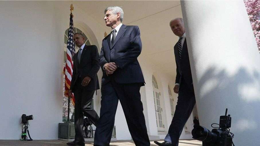 U.S. President Barack Obama and Judge Merrick Garland, the president's nominee to replace the late Supreme Court Justice Antonin Scalia, and Vice President Joe Biden leave the Rose Garden at the White House on March 16. Chip Somodevilla/Getty Images