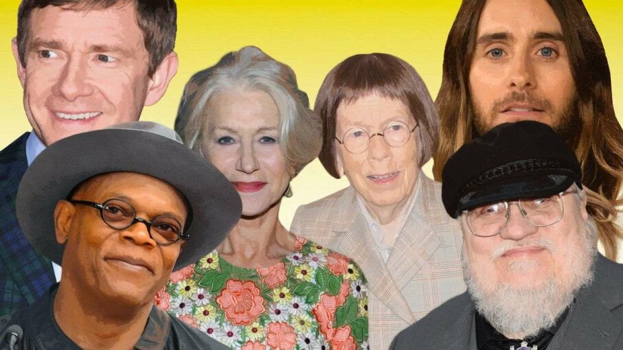 We pulled photos of three sets of celebrities who were born within three months of each other: Samuel L. Jackson and George R.R. Martin (bottom corners); Helen Mirren and Linda Hunt (center); and Martin Freeman and Jared Leto (top corners). Yet, they don't look the same age. Could the MC1R gene play into that? Jeff Kravitz/Albert L. Ortega/Richard Bord/Paul Archuleta/Craig Barritt/Larry Busacca/Getty