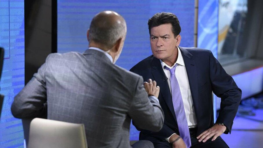 "Charlie Sheen (R) discussing his HIV diagnosis with TV host Matt Lauer on the ""Today"" show in late 2015. NBC/Getty Images"