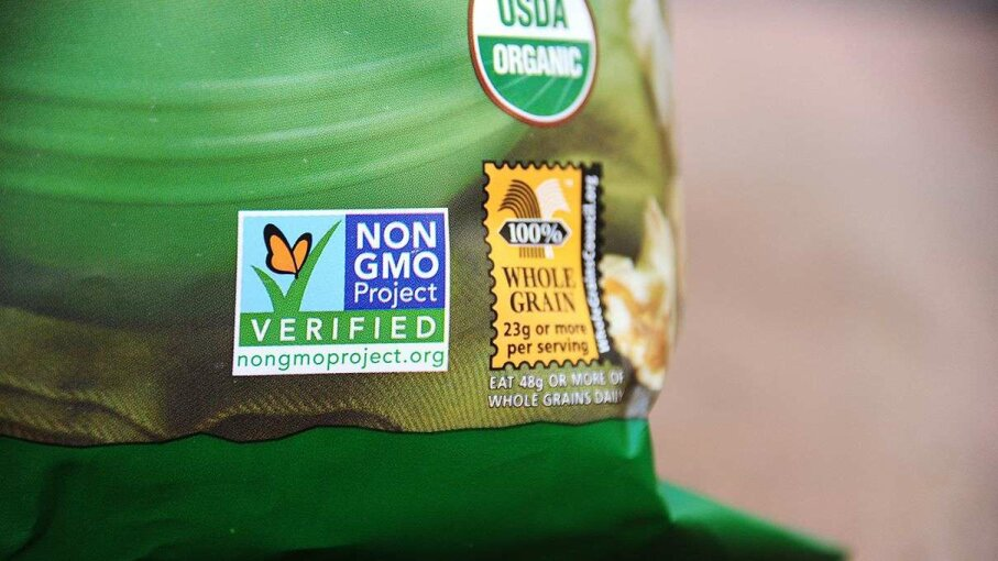 "Have you ever seen that sticker before? The Non GMO project is an organization that independently verifies whether a product has been made according to ""rigorous best practices for GMO avoidance."" The bag of popcorn pictured evidently did. ROBYN BECK/AFP/Getty Images"