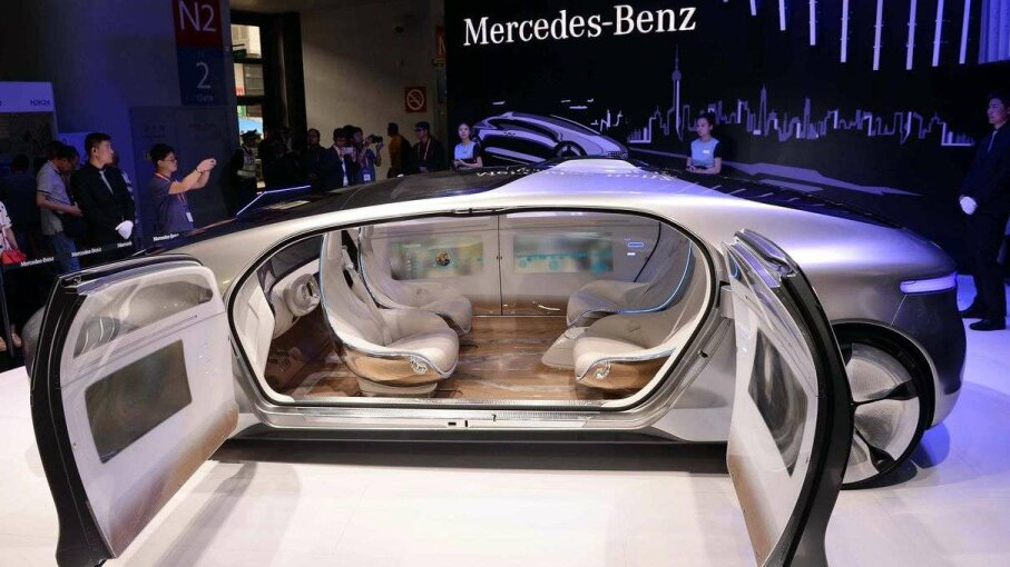 A driverless car designed by Mercedes-Benz on display at the Consumer Electronics Show in Shanghai in May 2015. STR/AFP/Getty Images