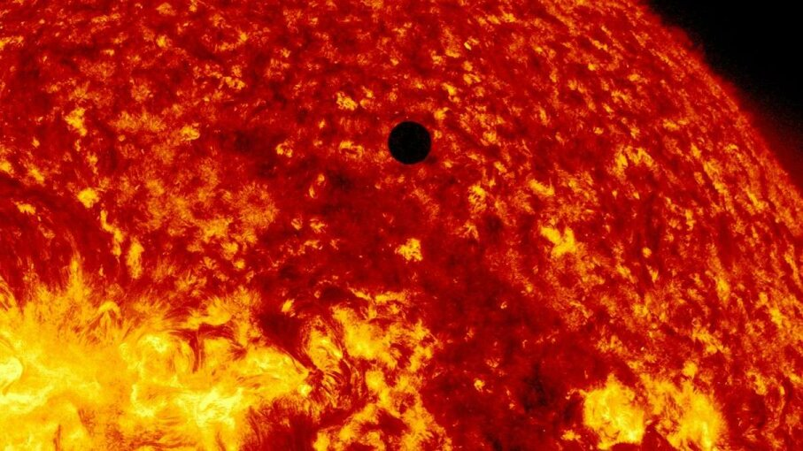 This photo captured the transit of Venus across the sun on June 5, 2012. New research suggests that we should focus our search for extraterrestrial intelligence within Earth's transit zone. NASA/SDO, AIA