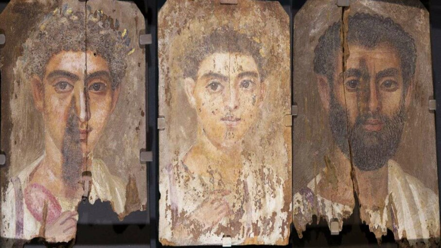 Roman-era Egyptian mummy portraits uncovered Tebtunis, Egypt, are thought to all be created by the same artist due to their similar style and creation method. Phoebe A. Hearst Museum of Anthropology, University of California, Berkeley