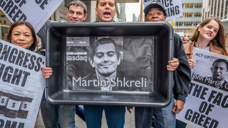 Act Up NY Activist Mark Milano holds a cat litter box with a photo of Martin Shkreli at the bottom of it. The activists were protesting the enormous price increase of Daraprim in front of the Turing Pharmaceuticals Offices in Midtown, New York City.  Erik McGregor/Demotix/Corbis