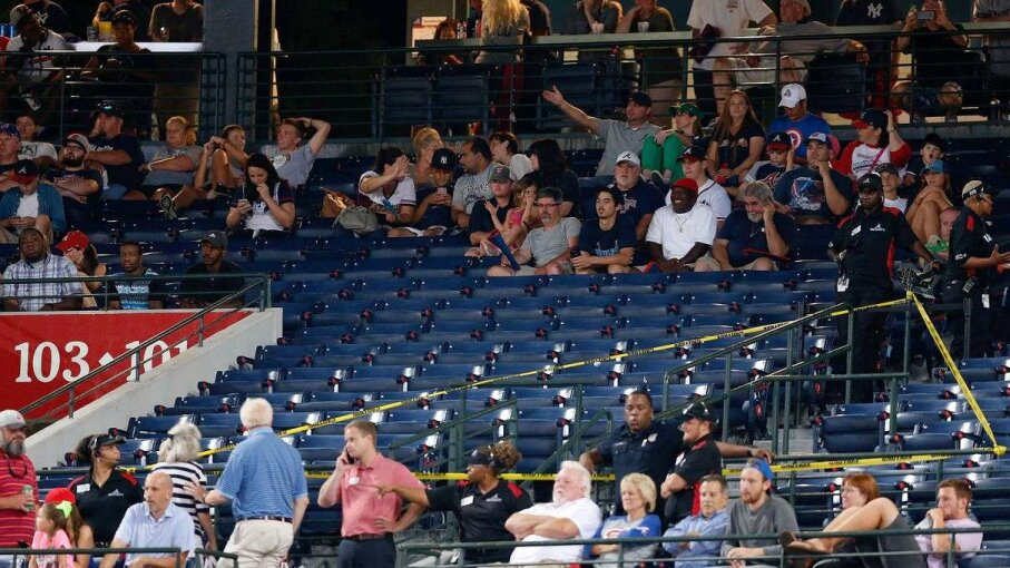 Police block off a section with police tape after a fan fell from the upper deck of Turner Field in the seventh inning during the game between the Atlanta Braves and the New York Yankees on Aug. 29, 2015. Mike Zarrilli/Getty Images