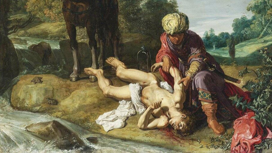 """A detail of the 1612 painting """"The Good Samaritan"""" by Pieter Pietersz Lastman illustrates the Biblical parable of a stranger offering assistance. Heritage Images/Getty Images"""