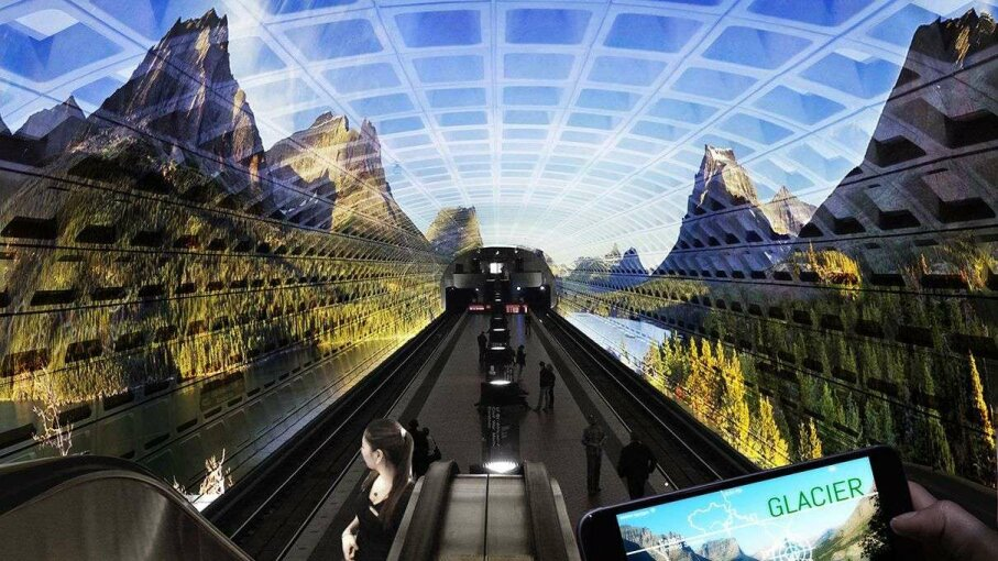 """An artist's depiction of how """"American Wild,"""" a finalist in the Memorials of the Future competition, would display images of national parks in Washington, D.C., a metro station. National Park Service"""