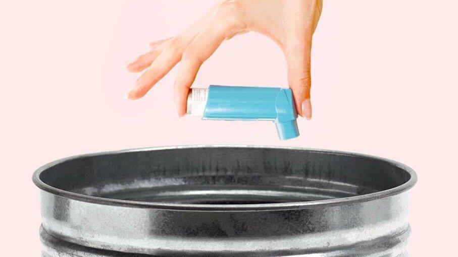 Person throwing away inhaler