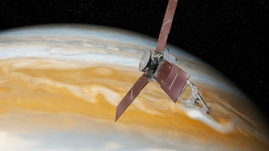 An artist's rendering of the Juno spacecraft with Jupiter in the background. NASA/JPL-Caltech