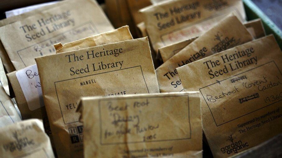 Seed packets for sharing at The Heritage Seed Library John Carey/Getty Images