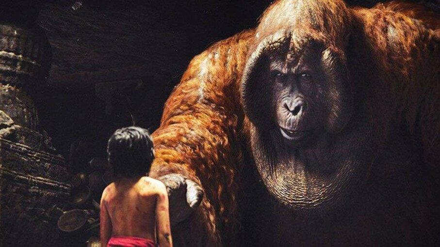 Feral child Mowgli encounters King Louie, a Gigantopithecus ape, in the live-version 2016 film 'The Jungle Book.' Disney Enterprises