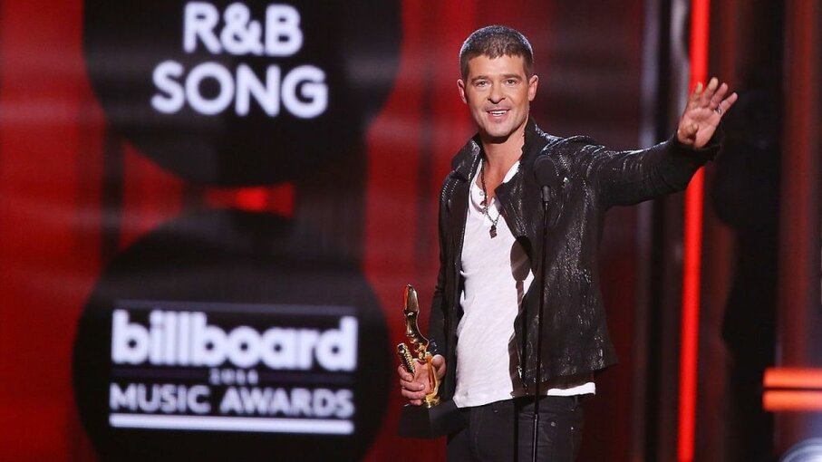 Robin Thicke accepts the award for Top R&B Song for 'Blurred Lines' during the 2014 Billboard Music Awards. After the heirs of Marvin Gaye made a claim of copyright infringement, Thicke and song co-writer Pharrell Williams sued them, but lost. Michael Tran/FilmMagic/Getty Images