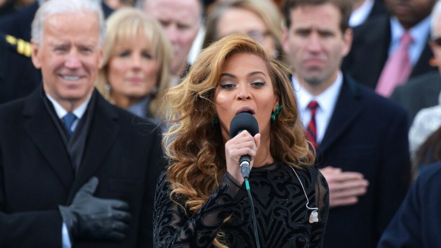 Beyonce performs the National Anthem during Barack Obama's inauguration swearing-in at the US Capitol on Jan. 21, 2013 in Washington, D.C. JEWEL SAMAD/AFP/Getty Images
