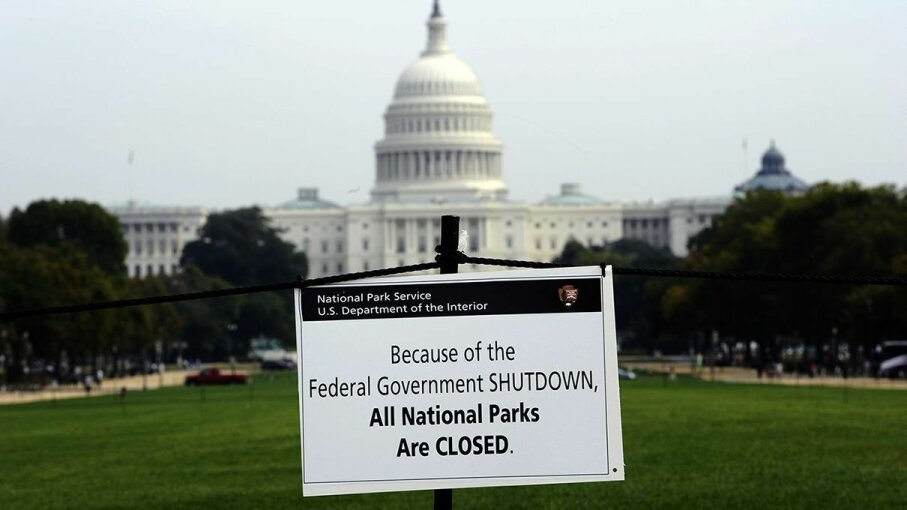 A closure sign is posted on the National Mall near the U.S. Capitol in Washington, D.C., October 3, 2013 when the federal government shut down for 16 days. JEWEL SAMAD/AFP/Getty Images