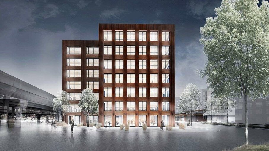 The T3 Minneapolis building in Minneapolis, Minnesota, will be the first tall wooden building in the country; construction's expected to be completed by the end of 2016. Image provided by MGA