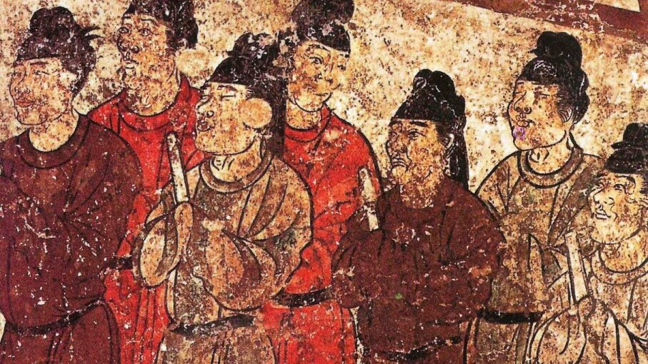 This mural of a group of eunuchs was found on the tomb of the Chinese prince Zhanghuai who died in 706 C.E. A study showed that eunuchs lived longer than non-eunuchs. Wikimedia Commons