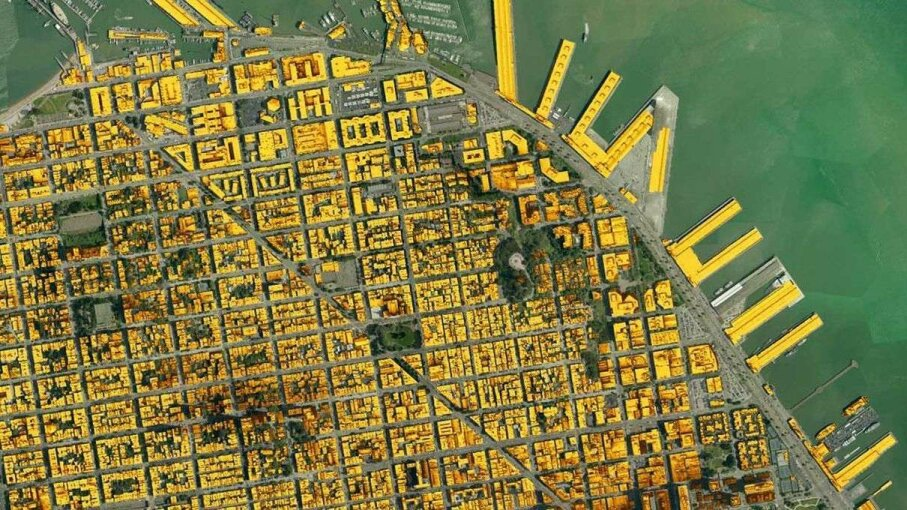 You're looking at an aerial view of San Francisco that Mapdwell developed. Roofs that are bright yellow pose the best candidates for solar panel placement. Mapdwell