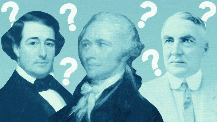 Alexander Hamilton (center) was a busy guy, but he never had any presidential duties. However, Millard Fillmore (left) did serve as a U.S. president, as did Warren G. Harding (right).  AS400 DB/ Leemage/Corbis
