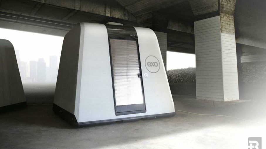 The EXO housing systems are reusable and restackable  and were inspired by a Styrofoam coffee cup. Reaction, Inc.