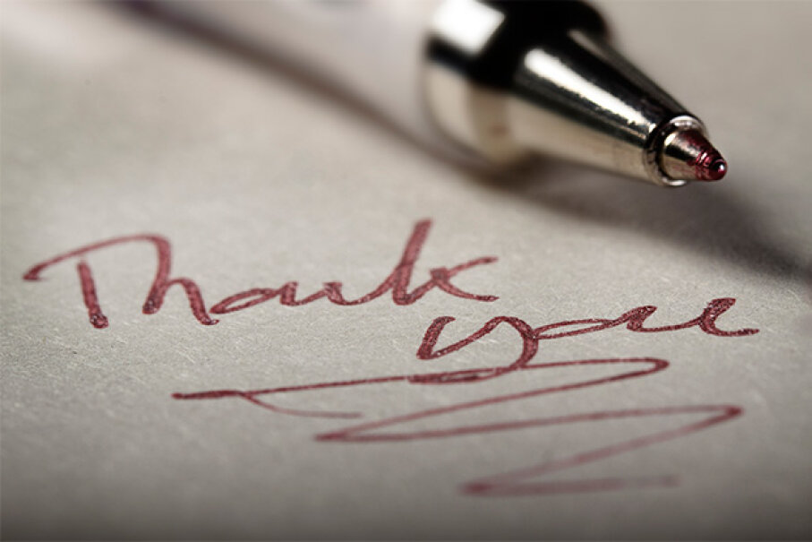 Somehow, a thank-you text doesn't have the warmth of a hand-written thank-you note. Ian Moran/Moment/Getty Images