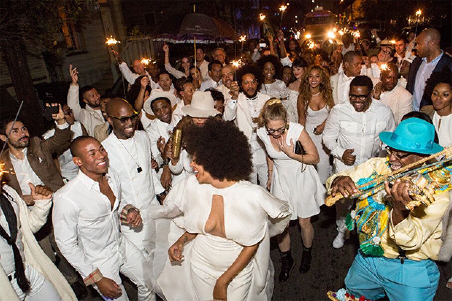Not only did singer Solange Knowles wear white at her second wedding, but all her guests did too. Josh Brasted/WireImage/Getty Images
