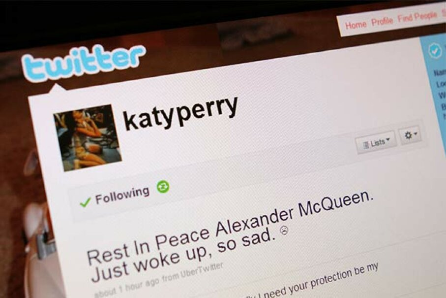 How do you know that the real Katy Perry wrote this tweet? Twitter added a blue badge with a checkmark next to her name to show they verified the account (not pictured). Harold Cunningham/Getty Images