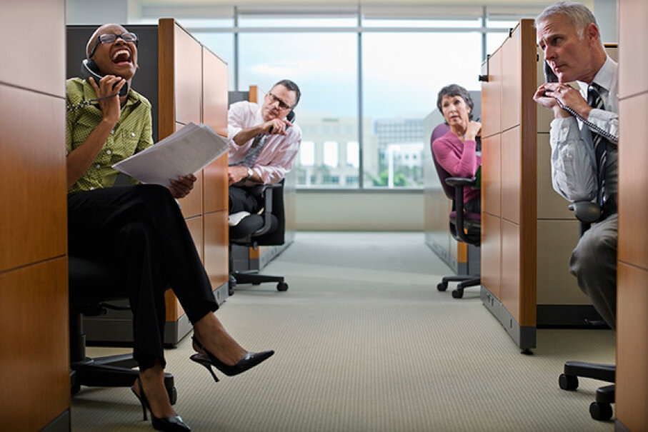 If your coworker talks loudly on the phone every morning, use that time to get away from your desk and do something else. (Or tell her to be quiet). Fuse/Thinkstock