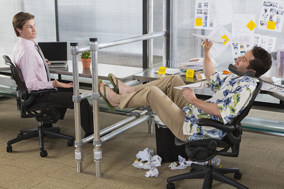 Sure he's annoying with his feet up on the glass but you  might do some things he finds annoying too. Creatas Images/Thinkstock